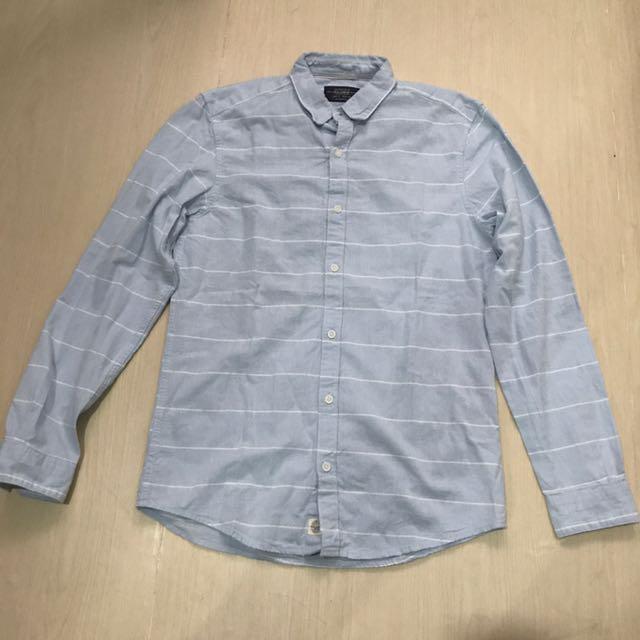 Pull&Bear light blue stripes shirt