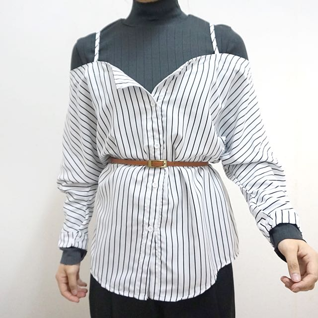 Ready Stock / Cold Shoulder With Long Sleeve Striped Top