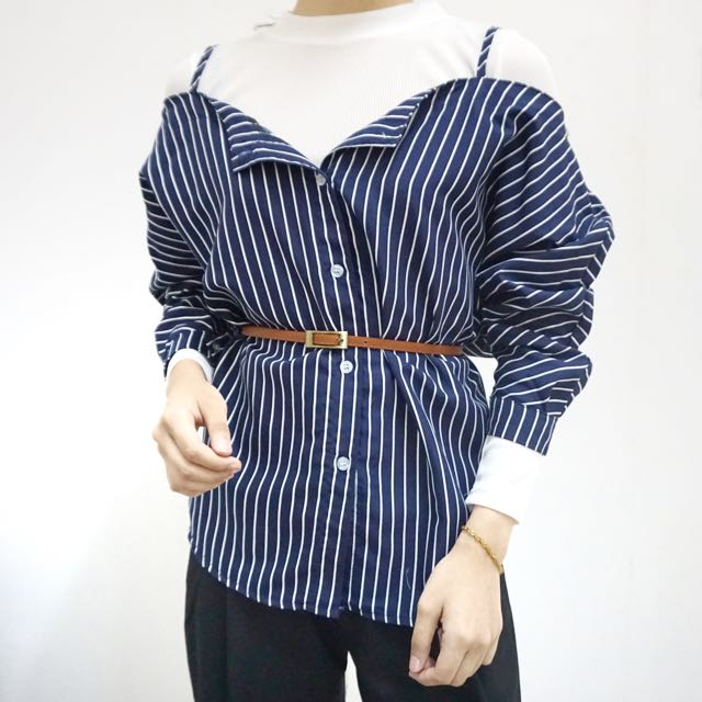 Ready Stock // Cold Shoulder With Long Sleeve Top