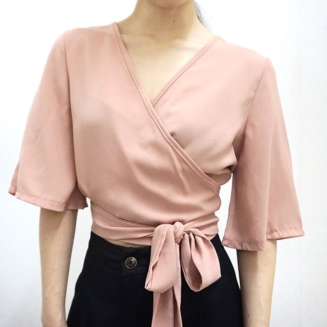 Ready Stock / V Neck Wrapped Top