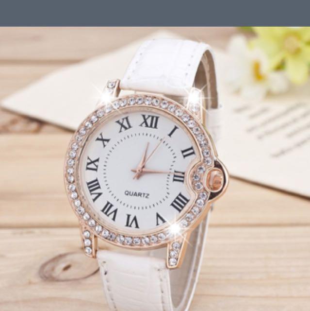 Rose Gold Clear Crystal Quartz Women's Watch