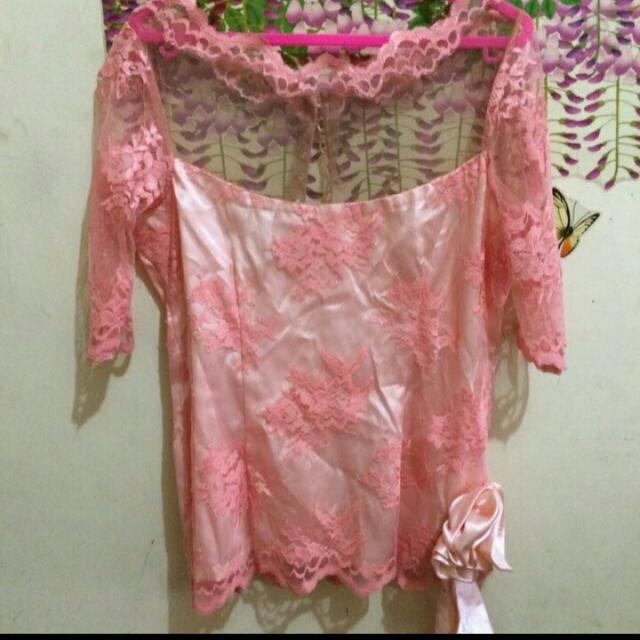 set kebaya peach