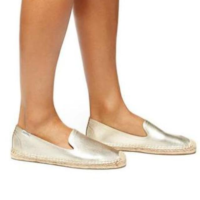 REDUCED Soludos Smokin' Slipper Leather Platinum