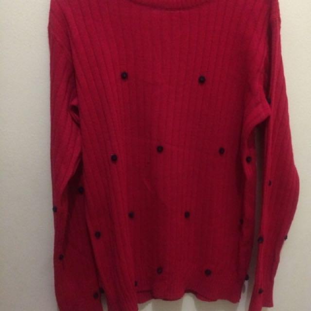 Sweatshirt Black Dot Red