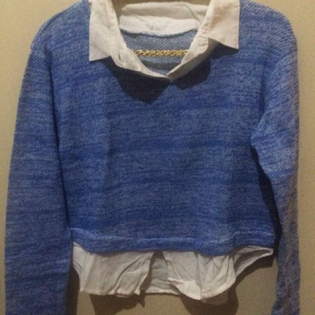 Sweatshirt White Blue