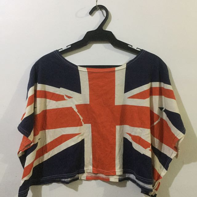 UK FLAG OVERSIZED CROP TOP