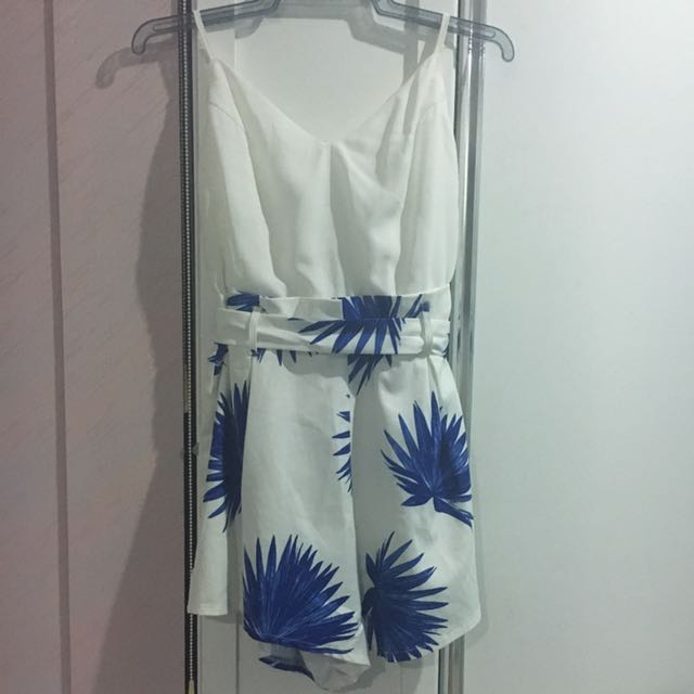 White And Blue Playsuit