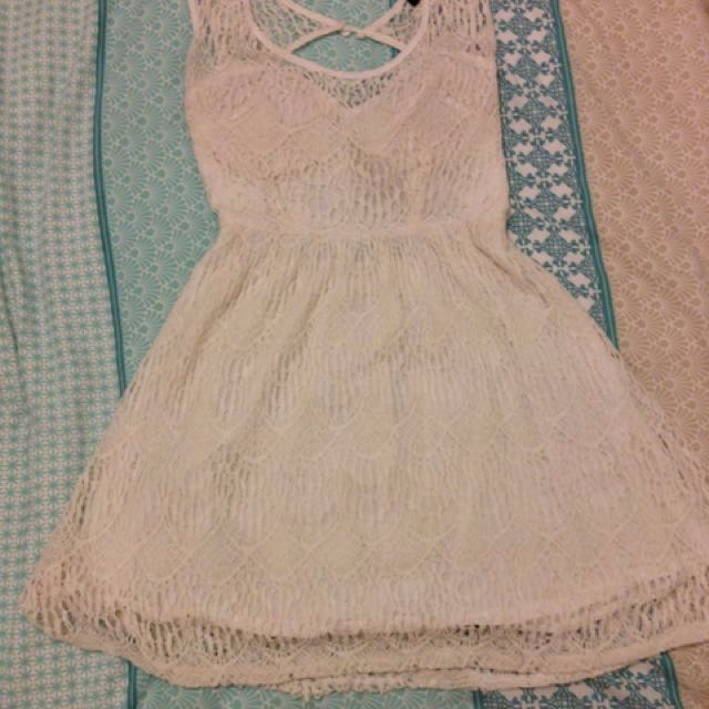 White Laced Dress Size 8