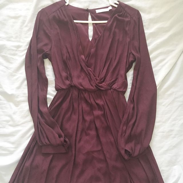 Wine Coloured Dress With Plunging Neckline