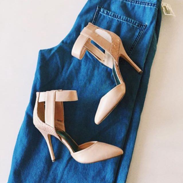 Zara Frayed Jeans & Guess Heels