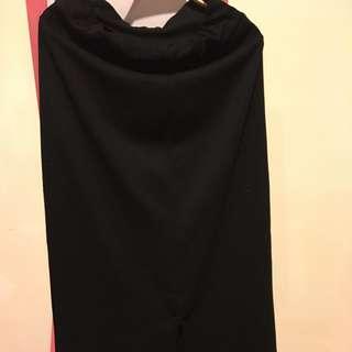 韓版 修身長裙 黑色 顯瘦彈力高腰裙