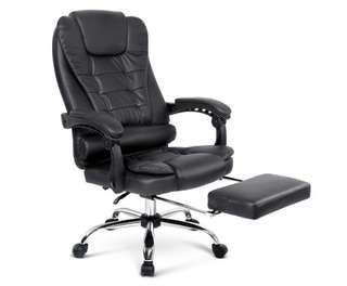 Executive Office Chair with Foot Rest - Black