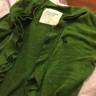 Abercrombie 綠色針織外套 荷葉邊