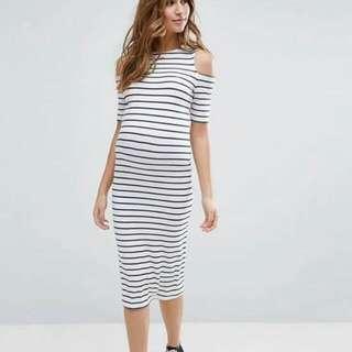 U.S. Style Stripe Cold Shoulder Maternity Dress