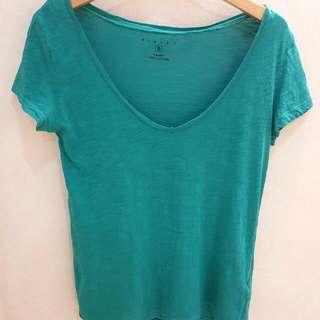 sisley專櫃品牌 藍綠色V領棉T