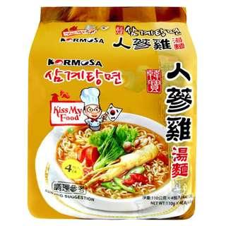 韓國 KORMOSA 韓寶 人蔘雞湯麵(110gx4包) Q彈麵條 養生美味