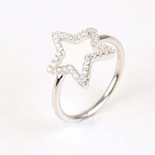 925 Sterling Silver Stars Zircon Ring Fashion Crystal CZ Classic Wedding Finger Ring