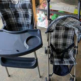 Graco Doll Stroller And Feeding Chair