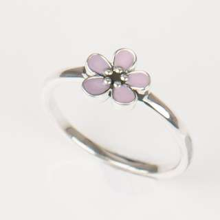 Elegant Pink Enamel Fashion Ring 100% Original 925 sterling Silver Engagement Ring
