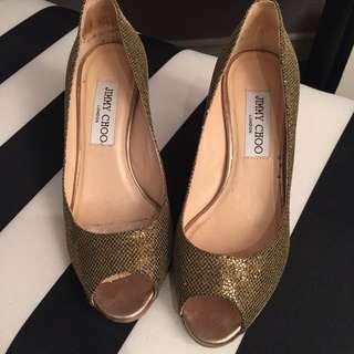 Authentic Jimmy Choo Gold Kitten Heels