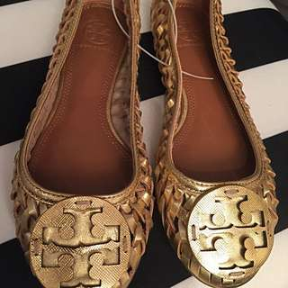 Tory Burch Gold Flats