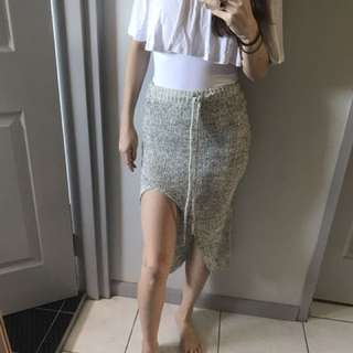 Crochet Knitted Midi Skirt With Split