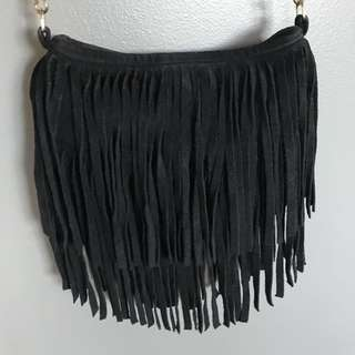 JJ Winters Black Fringe Purse (Suede)