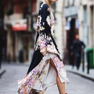 SPELL Blue Skies Kimono In Black/Cream