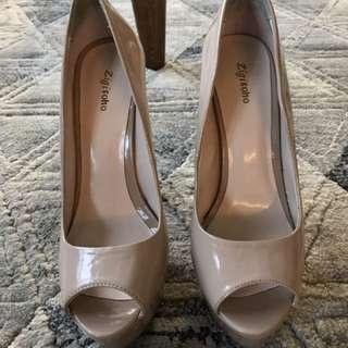 Nude Patent Leather Peep Toe Pumps