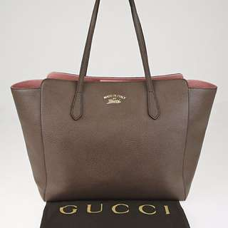 Authentic Gucci Swing Medium Tote - Taupe & Pink