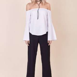 Morris Day - White bell Sleeve, Off The Shoulder Top