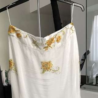 Long Skirt With Gold Embroidery
