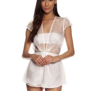 Cameo White Sheer Playsuit Size S