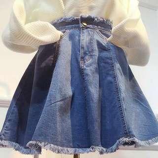 denim full circle skirt