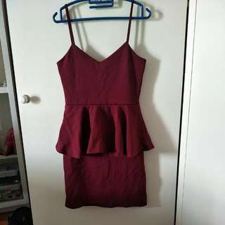 Boohoo Peplum Burgundy Dress