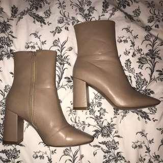 Beige Sock Boots Sz 6