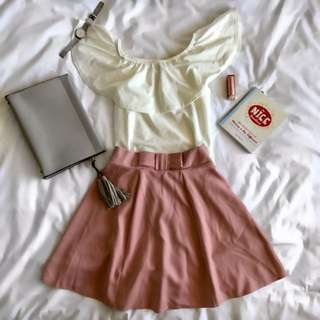 White Blouse And Pink Skirt