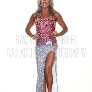 Sequin Pink Silver Evening Gown