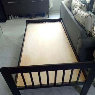 Dark Heavy Wood Bed Frame