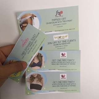 Beauty COUPONS (Strip, Browhaus, Wacoal) + FREE Entrance ticket