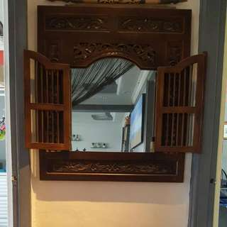 Window Mirror & Wooden Display Table With Drawer