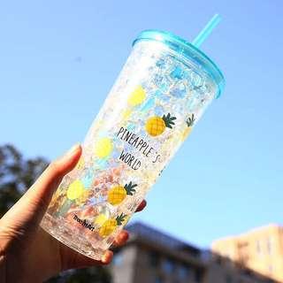🍍大容量🍍雙層冰杯/650ml/雙層吸管杯/急凍杯/隨行杯/冰涼杯