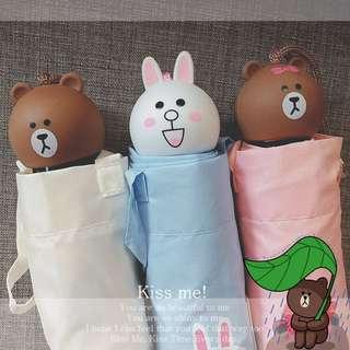 [現貨]line friends熊大兔兔莎莉折疊雨傘/陽傘/遮陽傘/卡通造型傘