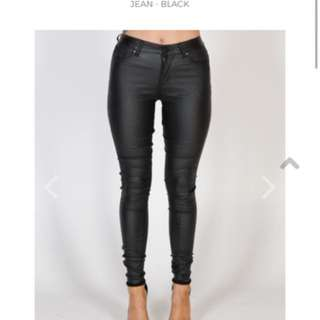 High Waisted Black Wetlook Jeans