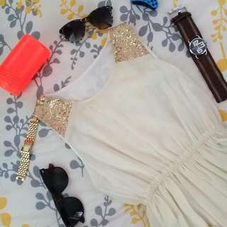 Long Back Sequined Cream Dress