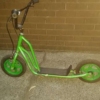 Green Scooter with Tyres