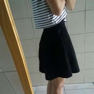 pazzo黑色針織傘襬短裙