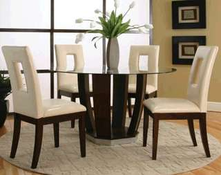 Round Table Glass Dining Set Solid Wood Made Factory Price