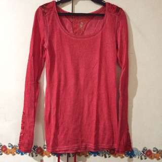 Red Longsleeved Shirt With Lace Cut Outs