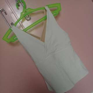 White Stretchable Criss-crossed Top
